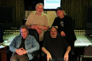 The James Gang at Mike Brown's Lava Room Recording. Dale Peters, Bill Szymczyk, Jimmy Fox, and Joe Walsh.